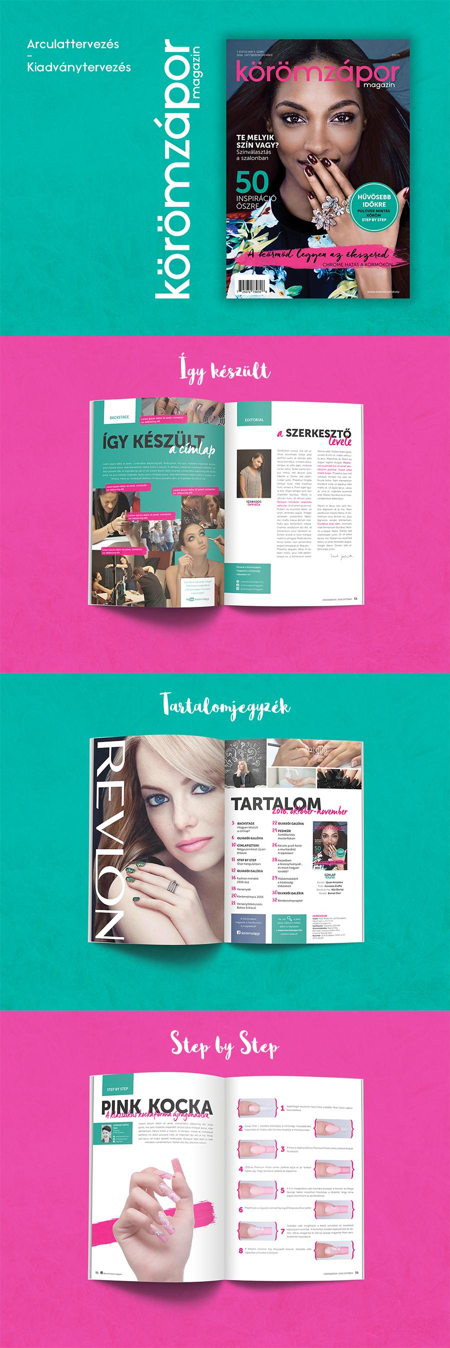 Kiadványtervezés, arculattervezés - Körömzápor magazin