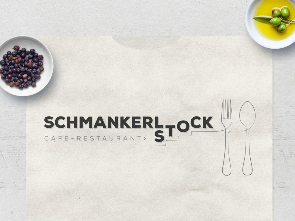 Schmankerlstock étterem - logótervezés
